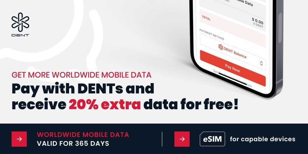 20 Extra Data if paid with DENT